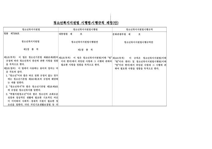 청소년복지지원법 시행령/시행규칙 제정(안)