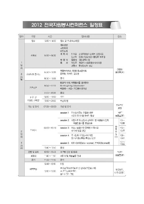 2012 전국자원봉사 컨퍼런스 자료집