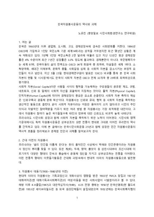 한국자원봉사운동의 역사와 과제