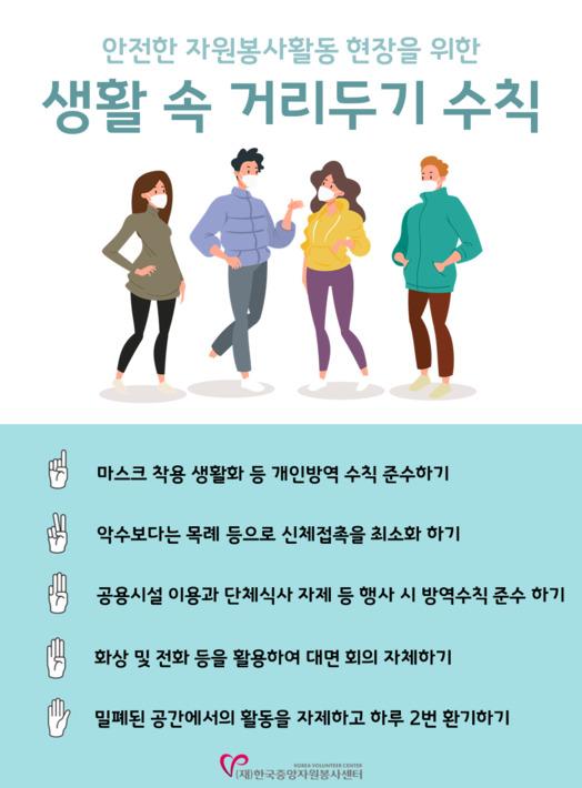 코로나19 생활 속 거리두기 지침 팝업 이미지 : 한국중앙자원봉사센터