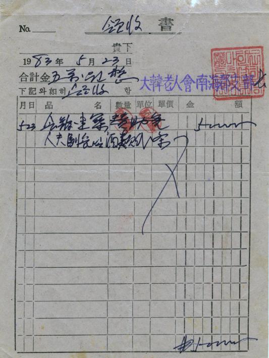 할머니봉사회 사진첩_19830523 성금기탁 영수증