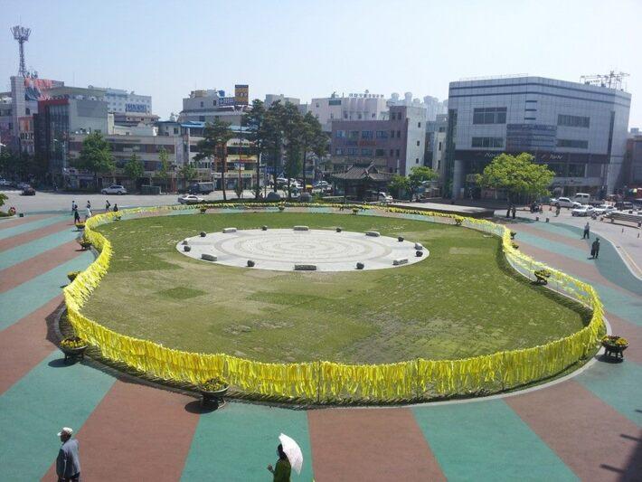 세월호 침몰 참사 관련 자원봉사 활동 현장(노란리본)