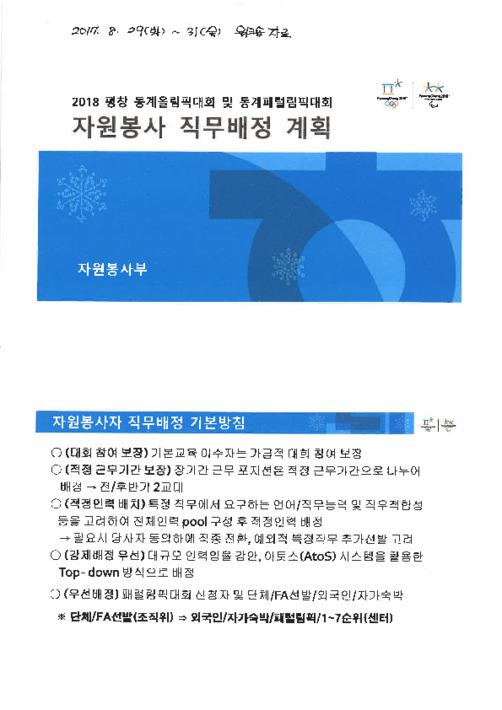 2018 평창 동계올림픽 자원봉사 직무배정 계획 및 시스템 흐름도