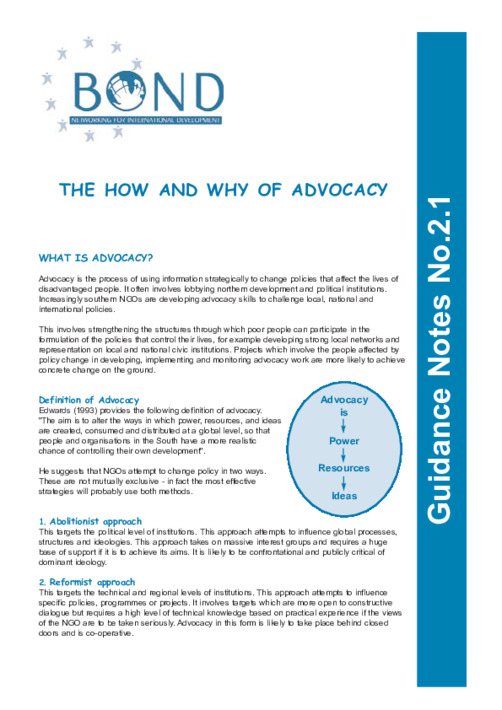The how and why of advocacy