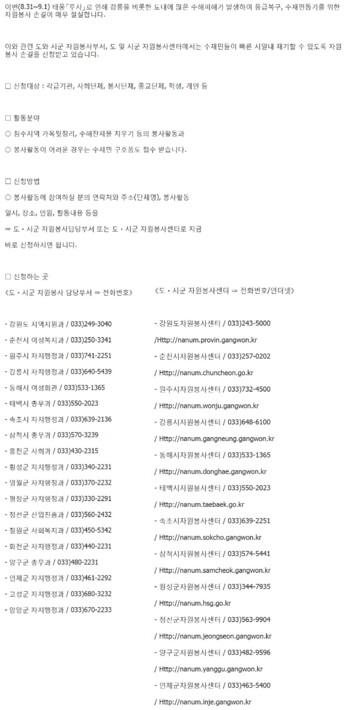 2003 태풍루사 피해복구 자원봉사 모집 안내