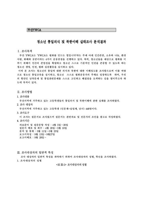 청소년 통일의식 및 북한이해 실태조사 분석결과