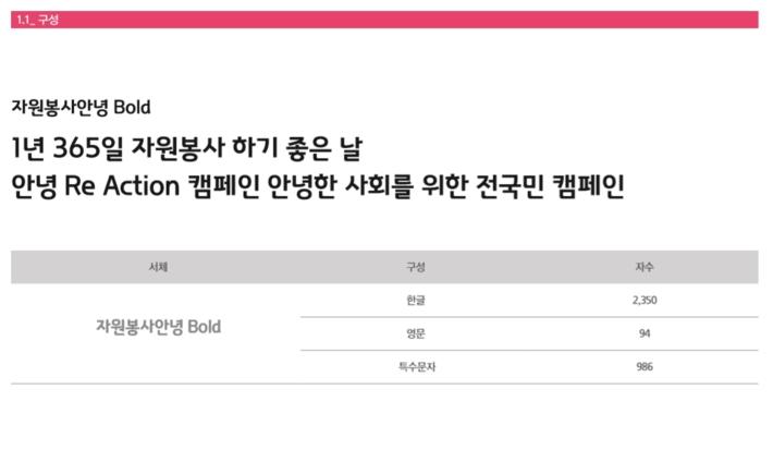 대한민국 자원봉사 전용 서체, 자원봉사 안녕체 (가이드북 포함)