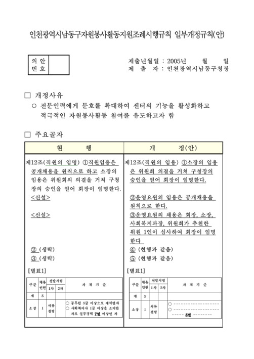 인천광역시남동구자원봉사활동지원조례시행규칙 일부개정규칙(안)