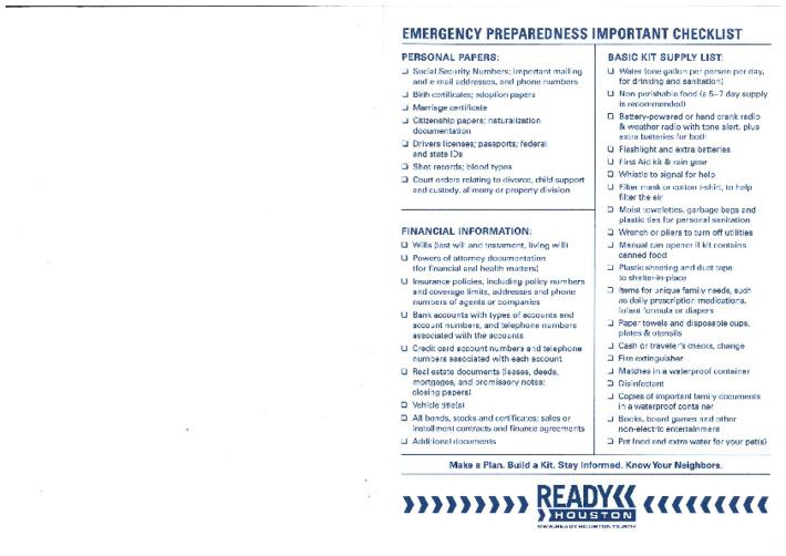 EMERGENCY PREPARENESS IMPORTANT CHECKLIST(응급상황 체크리스트)
