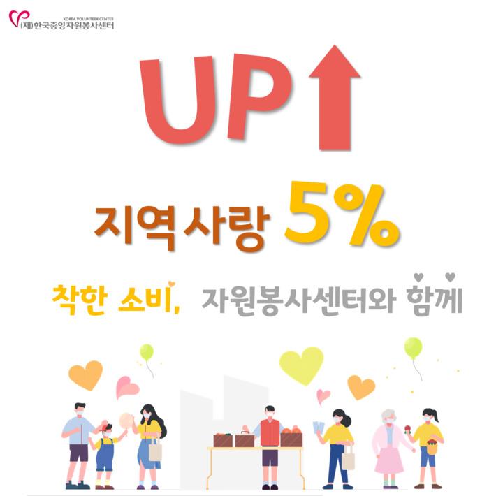 코로나19 지역사랑 5% UP 캠페인 이미지 : 한국중앙자원봉사센터