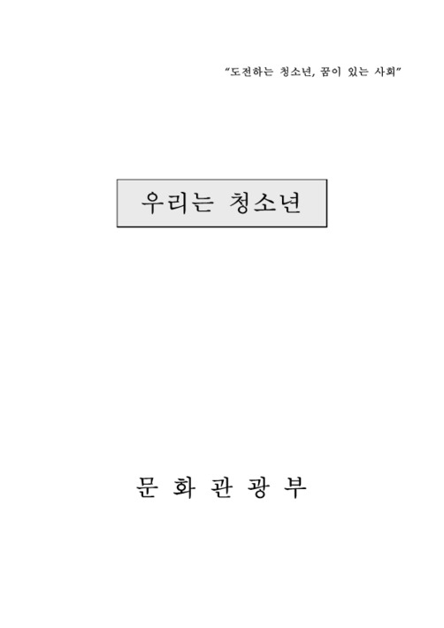 """""""우리는 청소년"""" 리플렛 주요내용"""