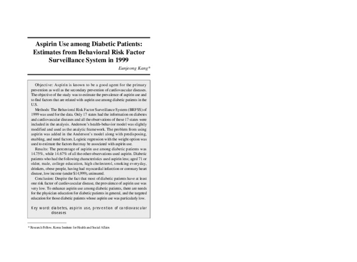 Aspirin Use among Diabetic Patients: Estimates from Behavioral Risk Factor Surveillance System in 19