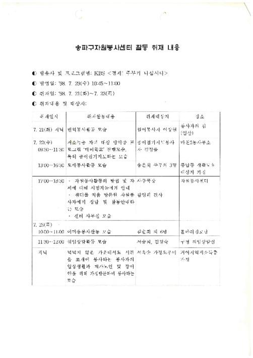 KBS <경제! 주부가 나섭니다> 프로그램 관련 송파구자원봉사센터 활동 취재 내용