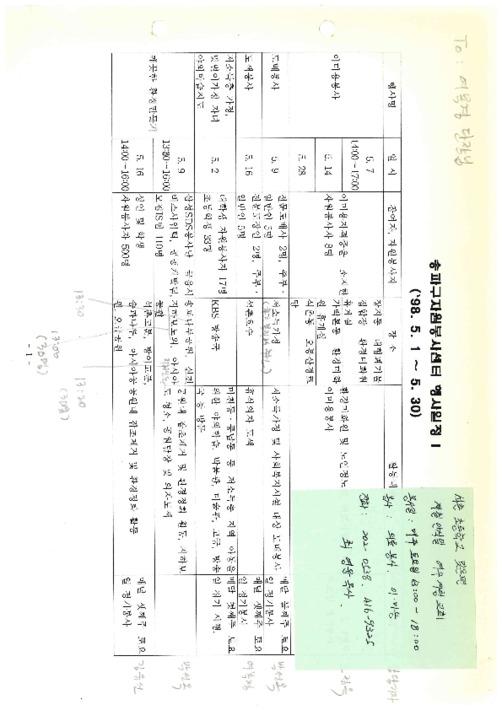 송파구자원봉사센터 행사일정(1998년)